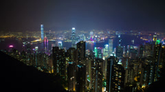 View over hong kong at night Stock Footage