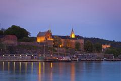 Stock Photo of akershus fortress and harbour, oslo, norway, scandinavia, europe