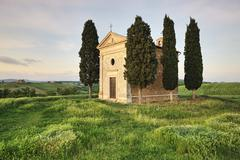 Capella di vitaleta, val d'orcia, province siena, tuscany, italy Stock Photos
