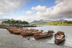 rowing boats on derwent water, keswick, lake district, cumbria, england - stock photo