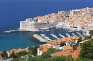 Stock Photo of st john fort, old harbour and old town, unesco world heritage site, dubrovnik