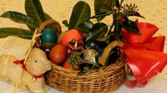 Static film shot on Easter basket Stock Footage
