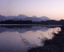 hopfensee lake at sunrise, near fussen, allgau, bavaria, germany - stock photo