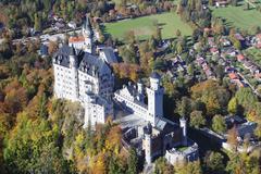 neuschwanstein castle, hohenschwangau, fussen, ostallgau, allgau, allgau alps - stock photo