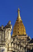 golden stupa of ananda pahto, bagan, myanmar, indochina - stock photo