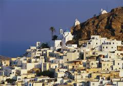 hora town, ios island, the cyclades, greece - stock photo