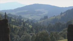 Zoom out of mountainous landscape in the Carpathians Stock Footage