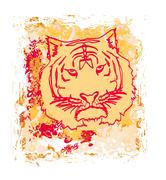 abstracted grunge tiger illustration - stock illustration
