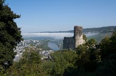 Landshut castle and mosel valley at bernkastel-kues Stock Photos