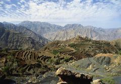 Remote mountain village, yemen Stock Photos