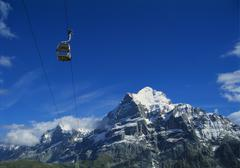 Cable car and mt wetterhorn, grindelwald, bernese oberland, switzerland Stock Photos