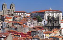 Bishop's palace and city cathedral, porto, portugal Stock Photos