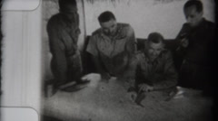 WWII - Officers Strategizing on Map Stock Footage