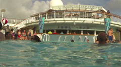 Underwater swimming pool cruise ship vacation HD 0256 Stock Footage
