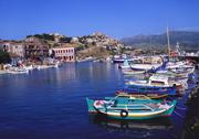 Stock Photo of sailboats moored at molyvos harbour, lesvos, greece