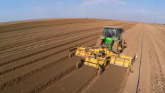 Flight over Potato field Stock Footage