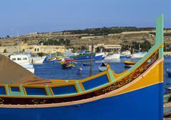 fishing boats in marsaxlokk harbour, malta, europe - stock photo