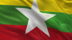 Flag of Myanmar seamless loop Stock Footage
