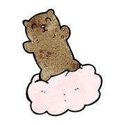 Stock Illustration of cartoon bear on cloud