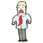 Cartoon businessman shrugging shoulders Stock Illustration