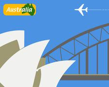 illustration of sydney opera house and the harbour bridge, sydney, australia, - stock illustration