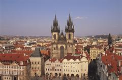 Czech republic, prague, old town square, church of our lady before tyn Stock Photos