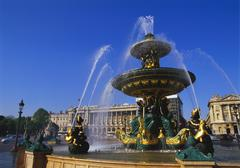 Elevation of the maritime fountain and hotel de crillon, place de la concorde Stock Photos