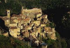 elevated view of the village of sorano, tuscany, italy - stock photo
