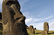 Stock Photo of moai in the rano raraku volcanic crater formed of consolidated ash (tuf)