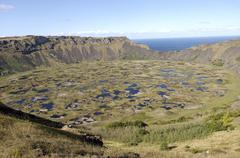 Lake in crater, orongo, easter island, chile, south america Stock Photos
