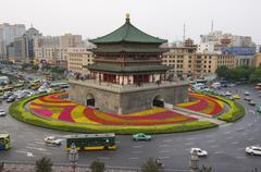 bell tower dating from 14th century rebuilt by the qing in 1739, xian city - stock photo