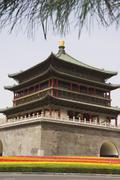 Bell tower dating from 14th century rebuilt by the qing in 1739, xian city Stock Photos