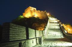 illuminations on the great wall of china at badaling - stock photo