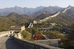 Autumn colours and a watch tower on the great wall of china Stock Photos
