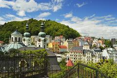 historic spa section of karlovy vary, bohemia, czech republic, europe - stock photo