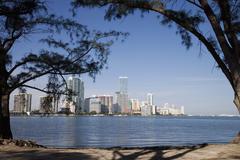 Miami skyline viewed from rickenbacker causeway, key biscayne, miami, florida Stock Photos