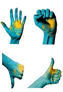Stock Illustration of hands with multiple gestures (open palm, closed fist, thumbs up and down) wit