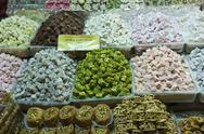 Stock Photo of turkish delight and baklava for sale in spice bazaar, istanbul, turkey