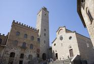 Stock Photo of tower, palazzo del popolo and facade of duomo in san gimignano, tuscany