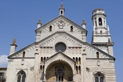 fa?ade of the santa maria matricolare duomo, verona, italy - stock photo