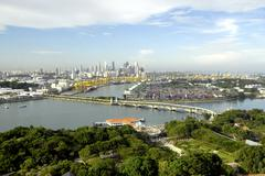 view of singapore from carlsberg tower in sentosa, singapore, southeast asia - stock photo