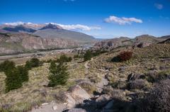 Trek up to mount fitzroy from el chalten, unesco world heritage site Stock Photos