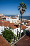 view from portas do sol over the old quarter of alfama, lisbon, portugal - stock photo