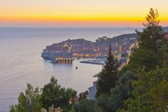 Croatia, dalmatia, dubrovnik, old town (stari grad) at sunset Stock Photos