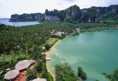 holiday resort at rai leh bay, krabi, thailand - stock photo
