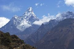 ama dablam from trail between namche bazaar and everest view hotel, nepal, hi - stock photo