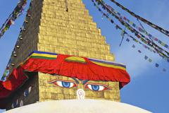 all seeing eyes of the buddha, boudhanath stupa, unesco world heritage site,  - stock photo