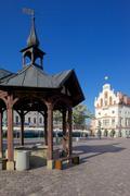Eurooppa, Puola, Rzeszow, vanha kaupunki, tori, kaupungintalo ja hyvin Kuvituskuvat
