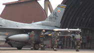 Stock Video Footage of 421st Fighter Squadron F-16s Arrive Osan AFB, South Korea