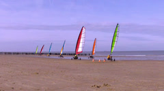 Land sailings on the beach of the North Sea. - stock footage